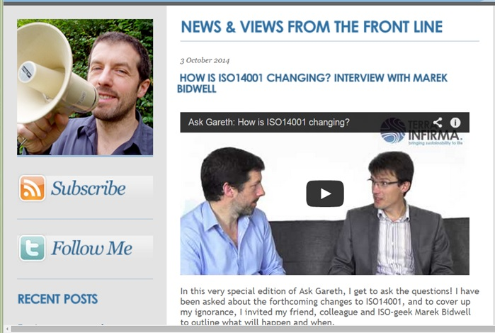 Ask Gareth - ISO 14001 Changes Video