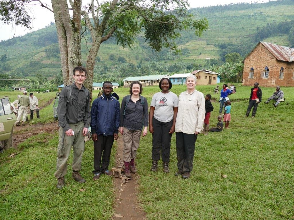 Some of our group, and Dr Gladys Kalema-Zikusoka the Gorilla Vet, happy to be back at base.
